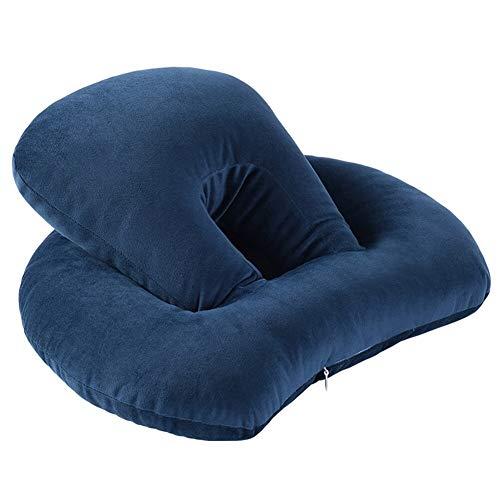 yywl Almohada Home Travel elástica suave doble capa reposacabezas de algodón soporte lumbar escritorio hueco cojín ajustable