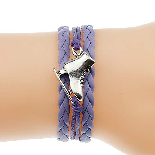 IJEWALRY Damenarmband Armbänder Armband,Mode Persönliche Elegante 5 Farben Antike Silber Eiskunstlauf Schuhe Charme Freundschaft Geschenke Lederarmbänder Für...