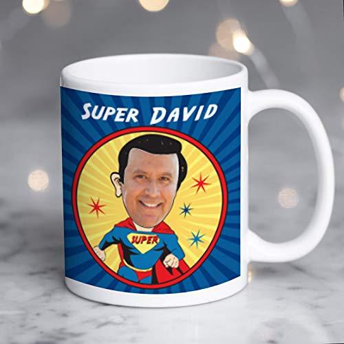 Taza de fotos personalizada de Superman Spoof de Superman para fan de Super Man, añade un nombre y una foto, taza personalizada para fan de Superman, taza personalizada de Super Hero