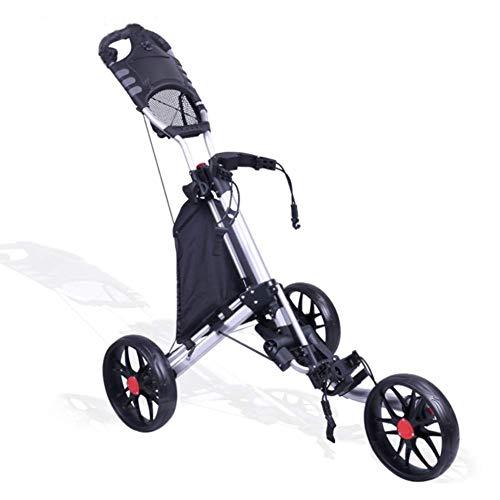 DSHUJC Trolley 3-Rad Golf Push Cart, 3-Rad Golf Trolley, zusammenklappbarer Leichter Golf Cart mit Regenschirm Scorecard Getränkehalter, Golf Trolley, leicht zu öffnen