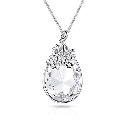 Alantyer Austrian Crystal Teardrop Necklace with Lucky Olive Leaf April Birthstone Pendant 14K White Gold Plated Chain Necklace for Women Girls Silver Jewelry Gift 18