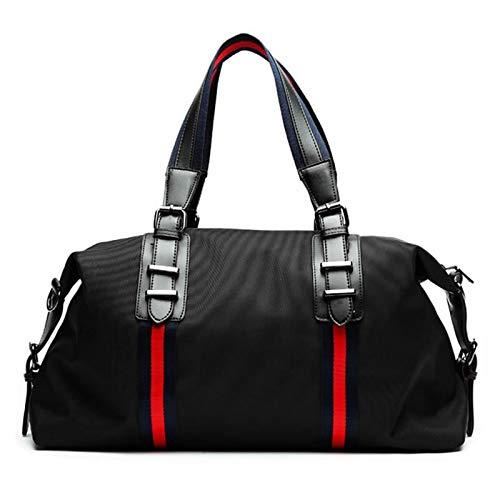 Oxford Travel Duffle Bags Fashion Men Folding Bag Large Capacity Luggage Handbags Large Handbag for Gym Sports (Color : Red tape Medium size, Size : 50x17x30cm)