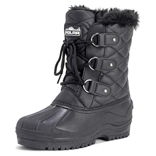 POLAR Womens Mid Calf Mountain Walking Tactical Waterproof Boots - Black Leather - US9/EU40 - YC0368