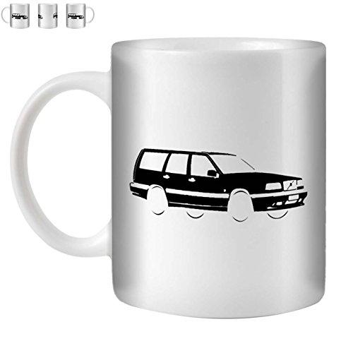 Stuff4 Tee/Kaffee Becher 350ml/Schwarz/Volvo 850 T5-R/Weißkeramik/ST10