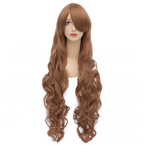 Flovex 32 inches Long Curly Wavy Anime Cosplay Wigs Natural Costume Party Hair