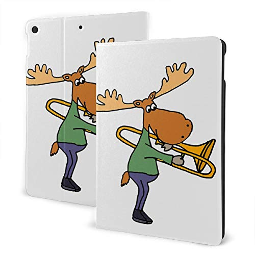 Funny Funky Moose Playing Trombone Case for Ipad 7th Generation 10.2'' Smart Cover Auto Wake Leather Cover