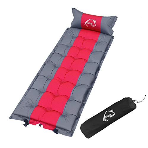 Wind Tour Sleeping Pad Self Inflating with Pillow for Camping - Lightweight Air Mattress for Backpacking, Hiking, Traveling (Red)