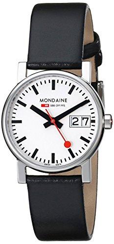 MONDAINE reloj Evo Big Date señoras esfera blanca correa de cuero negro A669.30305.11SBB señoras