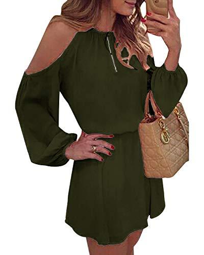 YOINS Sommerkleid Damen Kurz Schulterfrei Kleid Elegante Kleider für Damen Strandmode Langarm Neckholder A Linie Armee-Grün S