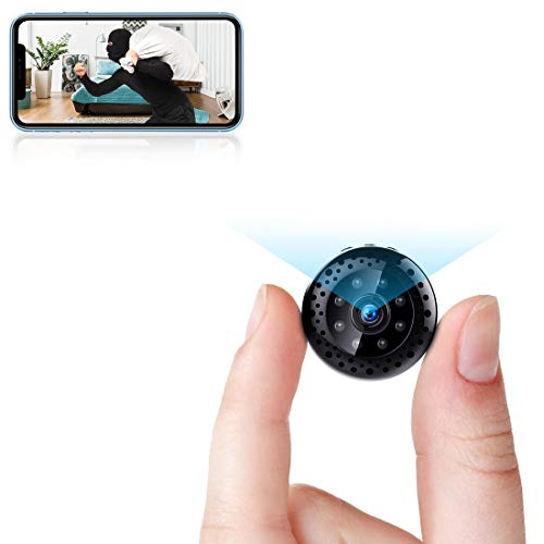 Mini WiFi Camera 1080P Wireless Security Camera Video Recorder Portable Tiny Covert Nanny Cam with Phone App Remote Viewing, Night Vision, and Motion Detection for Car Indoor Outdoor