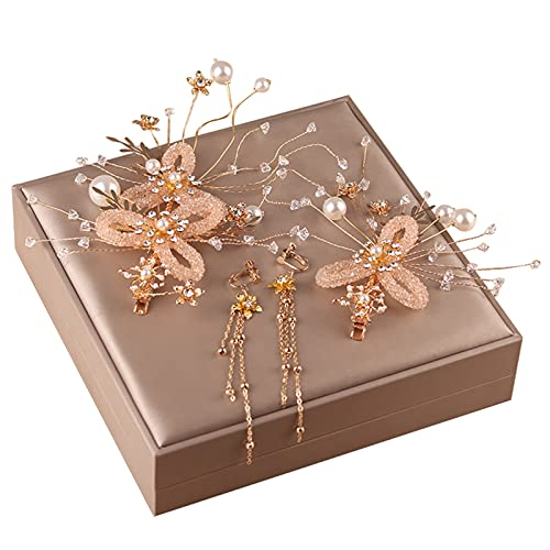 Qingxin Accesorios para el cabello Pendientes conjunto tejido hecho a mano diamante perla flores boda joyería regalos para niñas