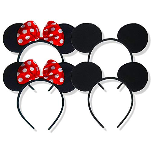 SET OF 4 Mickey Mouse Ears headband minnie mouse ears for minnie mouse costume for women/girls mickey mouse ears for mickey mouse costume for men/boys christmas mickey ears mickey and minnie ears