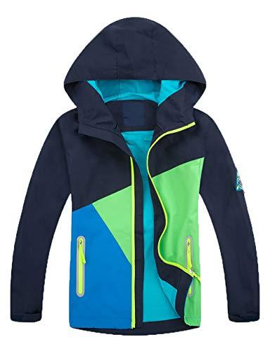 Echinodon Kinder Outdoorjacke wasserabweisend Winddicht Reflektoren Jacke Mädchen Jungen Übergangsjacke Regenjacke Frühling Herbst Navy M