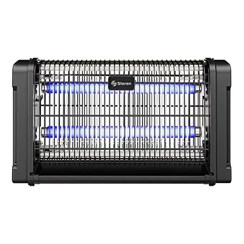Steren INSECTRONIC-200 Exterminador electrónico de insectos voladores con doble lámpara de 10 W c/u, rejilla electrificada de alto voltaje de 1800 a 3000 V