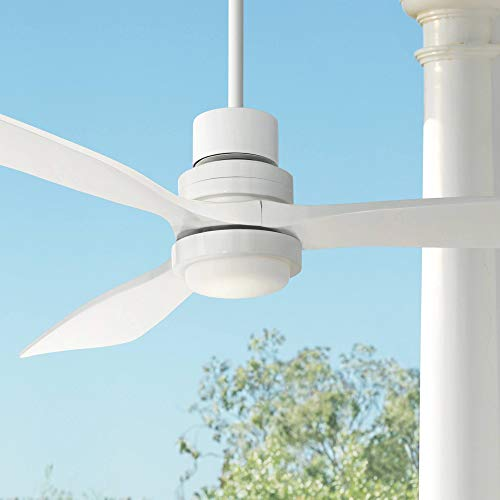 """52"""" Casa Delta-Wing Modern Contemporary 3 Blade Outdoor Ceiling Fan with Light LED Remote White Wood Opal Glass Damp Rated for Patio Exterior House Porch Gazebo Garage Barn - Casa Vieja"""