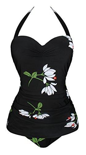 Angerella One Piece Swimsuits for Women Retro Vintage Halter Swimwear Tummy Control Bathing Suit White,2XL
