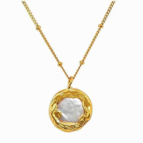 Qier Collar De Mujer,Exquisita Cadena Chapada En Oro De 18K, Colgante De Joyería De Perlas con Botón Barroco, Accesorio De Moda De Temperamento Elegante Simple Regalo De Amor