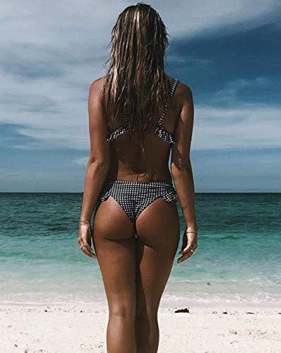 Bikini para Mujer con Relleno Push Up Traje de Baño Tartán Bañador de Dos Piezas a Cuadros