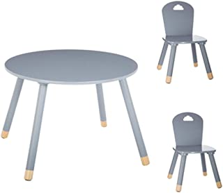 Set Table douceur grise + 2 chaises douceur grises Atmosphera
