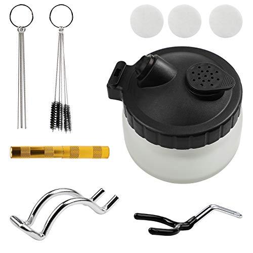 SWAWIS Professionell Airbrush Reinigungsset Set, 1 Airbrush Reinigungsbehälter, 5 Nylon Bürstensatz, 5 Edelstahlnadel Werkzeugsatz, 1 Golden Düsenwerkzeug Airbrush Reinigungsset