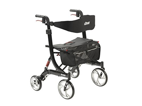 Drive Medical Heavy Duty Nitro Euro Style Walker Rollator, Black