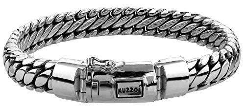 "Kuzzoi ""Buddha"" Silber-Armband für Herren, handgefertigtes Panzer-Armband aus echtem, massiven 925er Sterling Silber, luxuriöses Herren-Armband Gravur, 10mm breit, 66g schwer 335201-021"