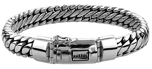 kuzzoi Men Bracelet Curb Cuban Chain massiv Shiny Solid with Clasp Made of 925 Sterling Silver, Length 8,27 inch, Width 0,39 inch, 1.62 oz