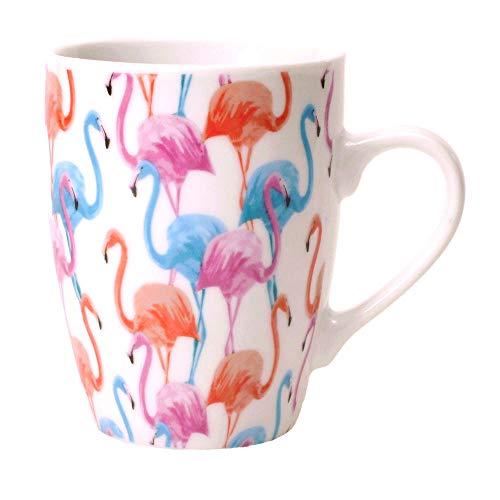 Flamingo Kaffeebecher in pink und blau - Tasse Trinkbecher