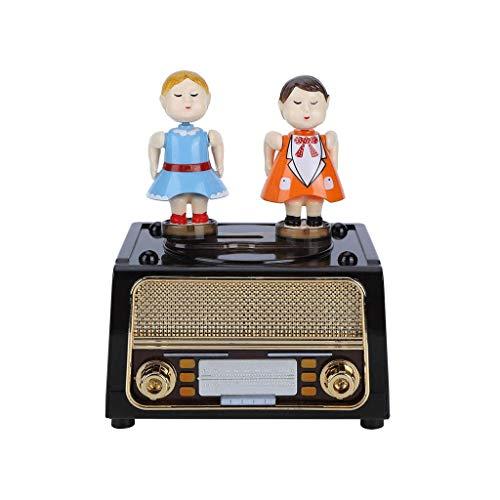 Yousiju De metal de radio retro Spinning Shaped joyería caja de música caja de música divertido creativo musical Caja de almacenamiento de cumpleaños del niño del regalo de Chrismas