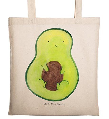 Mr. & Mrs. Panda Beutel, Einkaufstasche, Tragetasche Avocado mit Kern - Farbe Transparent