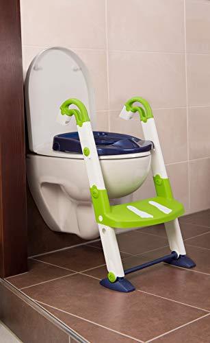 Rotho Babydesign KidsKit 3-in-1 Toilettentrainer, Ab 18-36 Monate, Aufbau-Maße zusammengeklappt: 41,5 x 25 x 67 cm (LxBxH), Weiß/Grün/Blau, 600060255