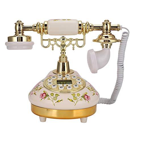 Longzhuo Nueva réplica de teléfono Antiguo, teléfono Retro Rosa Europeo de cerámica de Base Redonda MS-9100 para detección automática de identificador de Llamadas FSK/DTMF