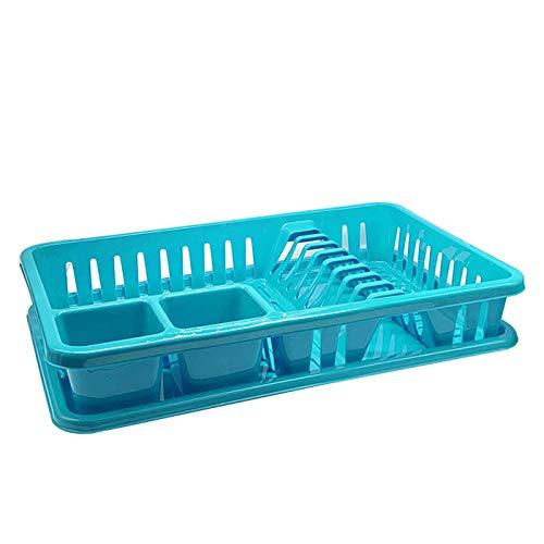 Escurreplatos de Plástico 45 x 26 x 9 cm , Organizador de Cocina, Escurridor con Bandeja para Cocina… (Turquesa)