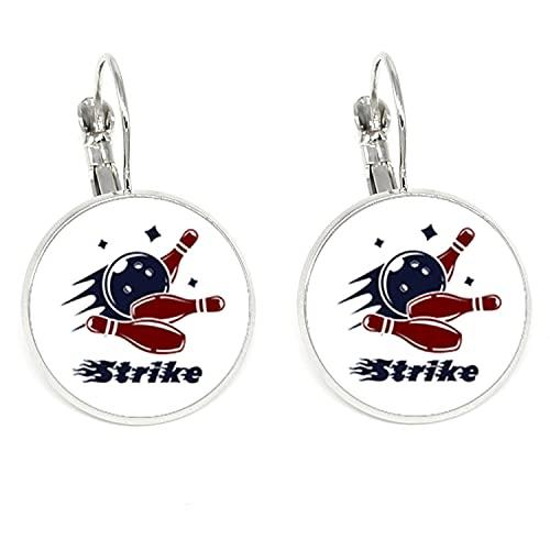 Casual/sportlicher Bowling-Anhänger Ohrringe Farbe Glas Kuppel Clip Ohrringe für Sport Frauen Schmuck Geschenk