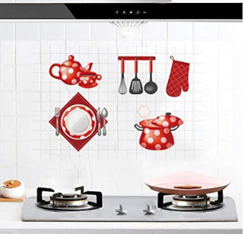 Muurstickers Rode kast Aluminium folie Oliebestendig Verwijderbare Art Deco Muursticker Behang voor Keuken