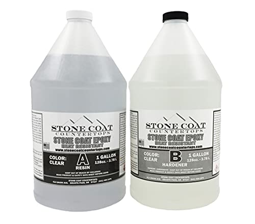 Stone Coat Countertop (2 Gallon) Epoxy Kit - Colorable 2-Part DIY Epoxy for Coating New and Existing Countertops with Unique Designs, Seal and Coat Live Wood!