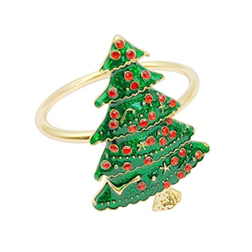 DOITOOL Porta-anéis de guardanapo para mesas, 1 peça anéis de guardanapo, fivelas de guardanapo, formato de árvore de Natal, liga para mesa de jantar (verde)