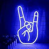 Rock Gesture Enseigne Au Néon Bleu Led Néon Lumière Art Décoratif Lampe Au Néon USB Signe Pour La Maison Intérieur Bar Salle De Jeux Boutique Décoration Murale Festival De Noël Fourniture De Fête