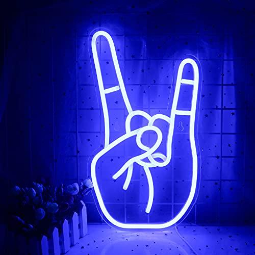 Rock Gesture Neon Sign Blue Led Neon Light Art Lampada decorativa al neon USB per casa, al bar, sala giochi, negozio, hotel, decorazione da parete, festival di Natale, feste, alimentazione USB (blu)