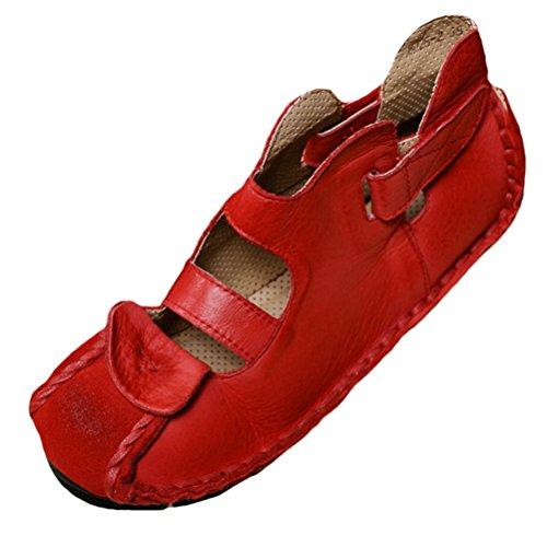 Vogstyle Vogstyle Damen Neu Weinlese Handgemachtes Echtes Leder Ebene Schuhe Art 1 Rot EU39/CH40