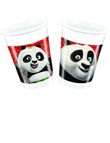 COOLMP – Lote de 3 Vasos de plástico Kung Fu Panda 3200 ml – Talla única – Decoración y Accesorios de Fiesta, animación, cumpleaños, Boda, pequeño Juguete, Globo