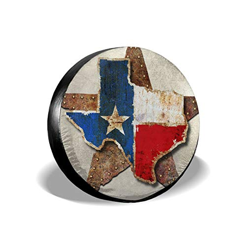 Spare Tire Cover 15 Inch Wheel,Texas Star, Multi Layered Texas Flag Sign Car Wheel Cover for Men, Universal Car Cover Protective Cover Proof for Travel Trailer Rv, SuvAnd Various Vehicles