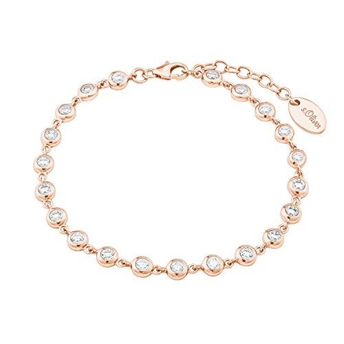 s.Oliver Bracelet pour femme en argent 925 plaqué or rose avec oxyde de zirconium