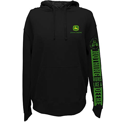 John Deere Nothing Runs Like A Deere Sleeve Printed Hoodie, Black- Large