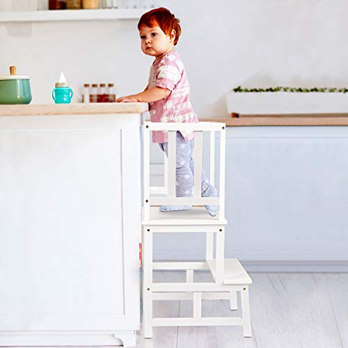 SUNYAO Kids Kitchen Step Stool with Safety Rail Solid Bamboo Construction. Perfect for Toddlers Up 18 Months, White Color