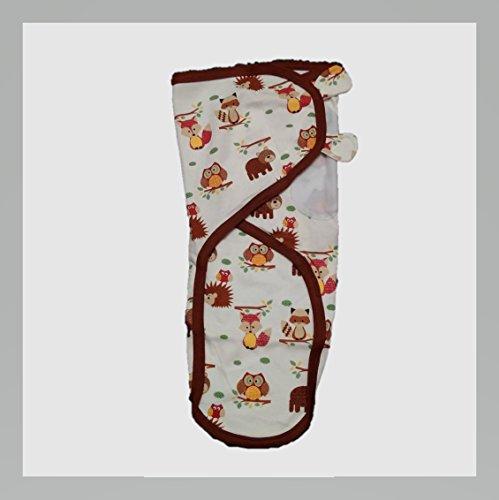 Cobertor de envolver banana para bebês, de pequeno a médio, 3,2 a 6,3 kg. Conjunto de envolver bebê ajustável de algodão macio, pequeno a médio, esquilo da Amazon + coruja