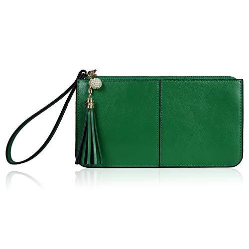 Befen Soft Leather Wristlet Phone Wristlet Wallet Clutch Tassels Wristlet with Exquisite Tassels/Wrist Strap/Card slots/Cash pocket - Kelly Green