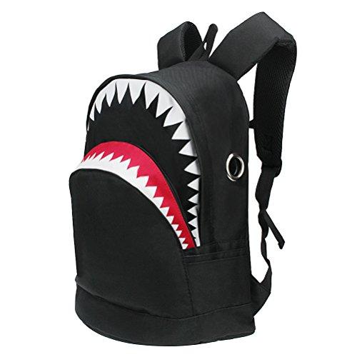 Yimoji zaino in tela per adolescenti, motivo: squalo, per scuola o laptop blu Black