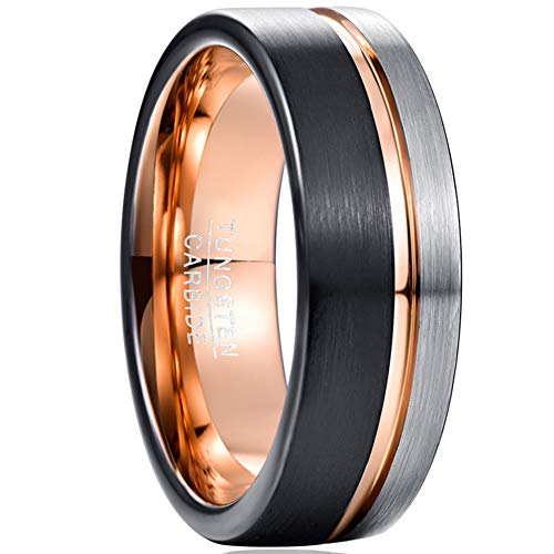 VAKKI 8mm Black and Silver Brushed Tungsten Promise Rings Thin Rose Gold Line Wedding Bands Size V 1/2