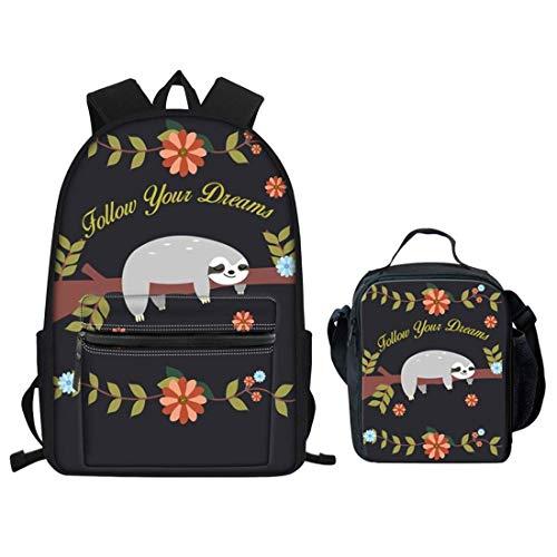 Bolsa de escuela Niñas con bolsa de almuerzo pavo real animal impresión adolescente mochila impermeable ligero libreros niños estudiante azul